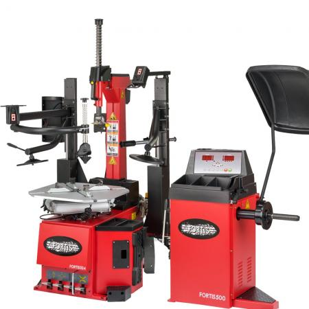 Super automatic tyre changer and wheel balancer package
